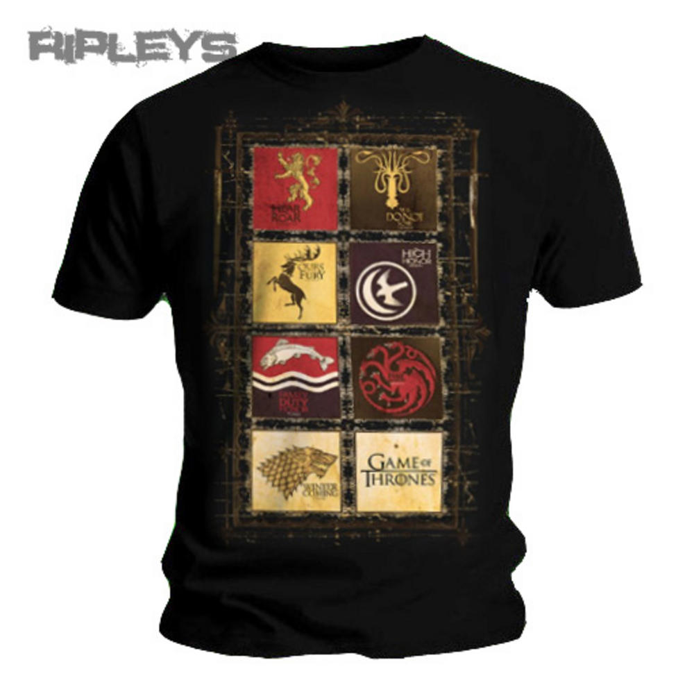 Official t shirt game of thrones stark lannister houses for Throne of games shirt