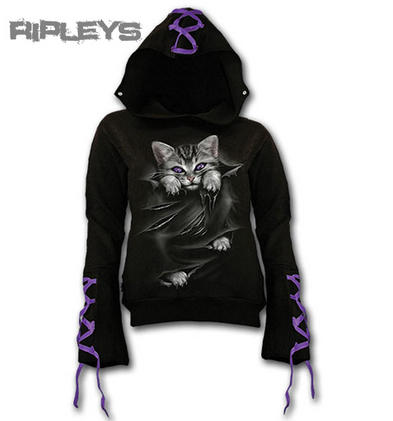 Spiral Direct Ladies Hoody Top Goth BRIGHT EYES Ribbon Kitten All Sizes