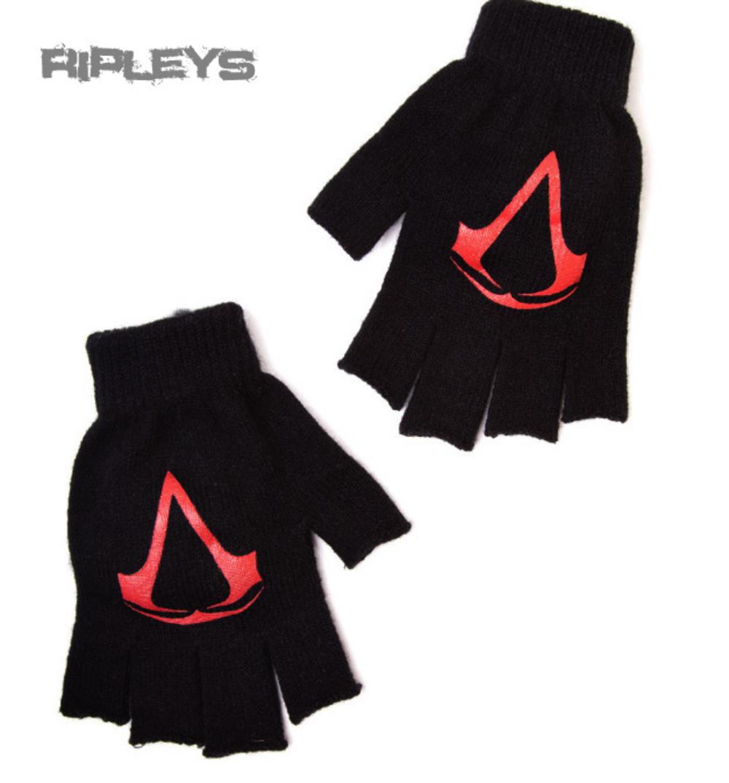 Fingerless gloves for gaming - Official Assassins Creed Game Black Red Logo Fingerless Gloves Assassins