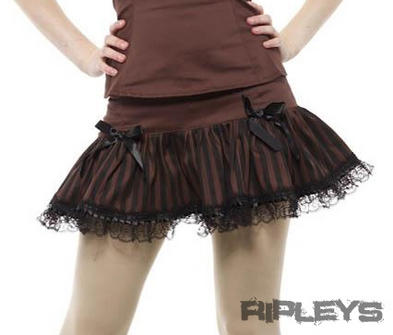 PHAZE Clothing Steampunk Compass STRIPE BITTER Mini Skirt Brown All Sizes