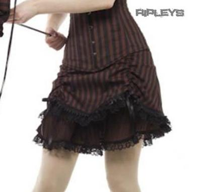 PHAZE Clothing Steampunk Compass ROUCHED BITTER Mini Skirt Brown All Sizes
