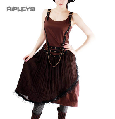 PHAZE Clothing Steampunk Compass Goth DRESS Brown Chains/Net All Sizes