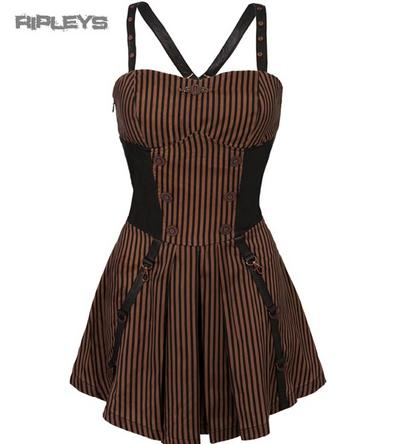 JAWBREAKER T Shirt Brown Pinstripe STEAMPUNK Mini Dress Goth All Sizes