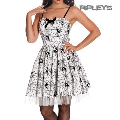 HELL BUNNY Mini Dress MARY JANE Spiderwebs Goth WHITE Halloween All Sizes