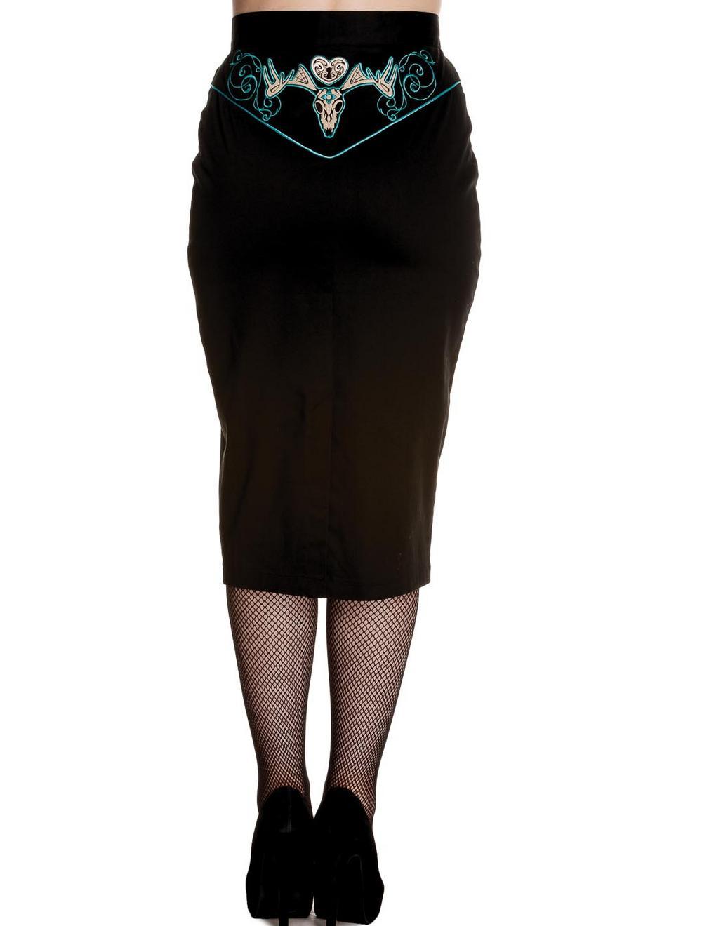 hell bunny 50s rockabilly pencil skirt locked black