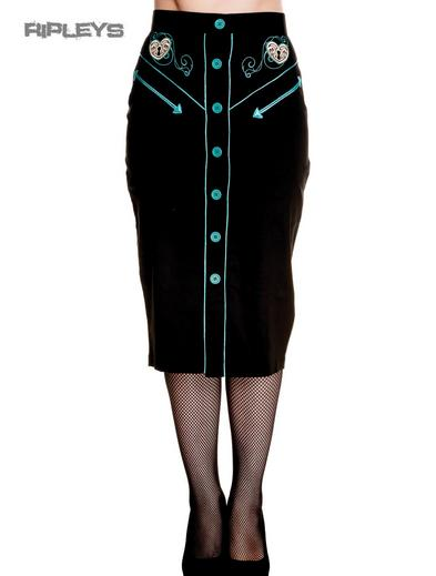 HELL BUNNY 50s Rockabilly Pencil Skirt LOCKED HEART Black/Blue All Sizes