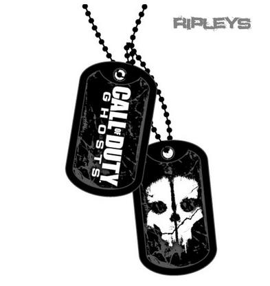Official CALL OF DUTY Army Black DOGTAGS Game GHOST Skull Gift