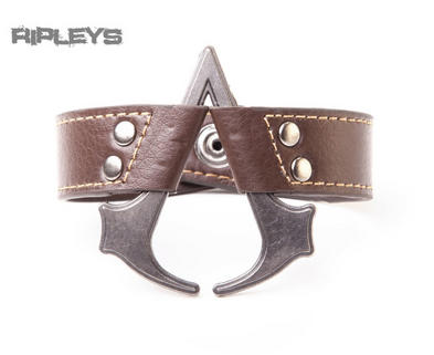 Official ASSASSINS CREED IV Brown Wristband Metal Shaped Logo Gift