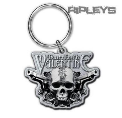 Official BULLET FOR MY VALENTINE Metal KEYCHAIN Keyring Two Pistols Gift