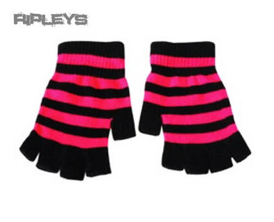 ACCENT Goth/Emo FINGERLESS GLOVES Winter Gift STRIPES PINK