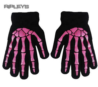 ACCENT Goth/Emo Bones SKELETON GLOVES Winter Gift Black/PINK