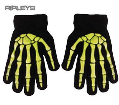 ACCENT Goth/Emo Bones SKELETON GLOVES Winter Gift Black/YELLOW