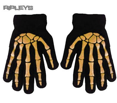 ACCENT Goth/Emo Bones SKELETON GLOVES Winter Gift Black/ORANGE