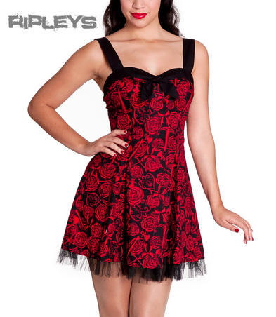 HELL BUNNY Black Goth AVALON Mini Dress Roses Anchors RED All Sizes