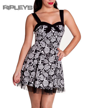 HELL BUNNY Black Goth AVALON Mini Dress Roses Anchors WHITE All Sizes