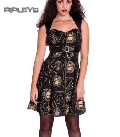 HELL BUNNY Black Goth PENTAGRAM Dress Steampunk Bondage All Sizes