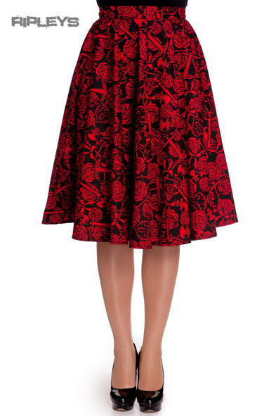 HELL BUNNY 50s ARCADIA SKIRT Roses Anchors Black Red All Sizes