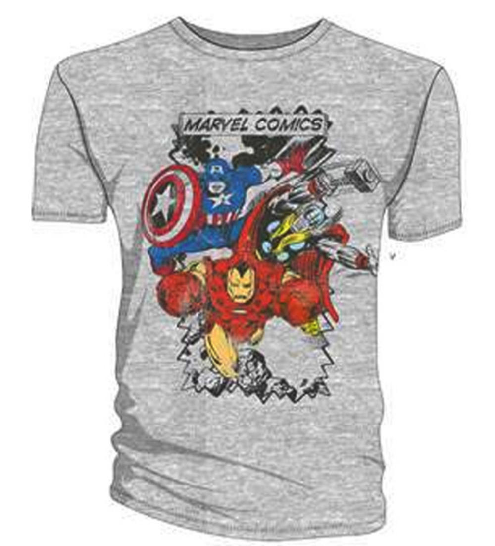 official t shirt marvel comics avengers grey characters