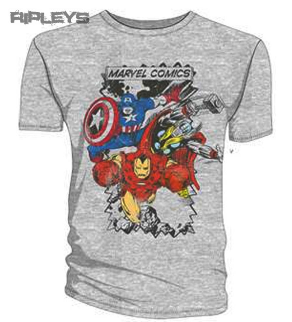 official t shirt marvel comics avengers grey characters all sizes. Black Bedroom Furniture Sets. Home Design Ideas