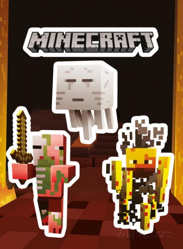 JINX Official Minecraft STICKERS SET Gift Portal Mobs NETHER