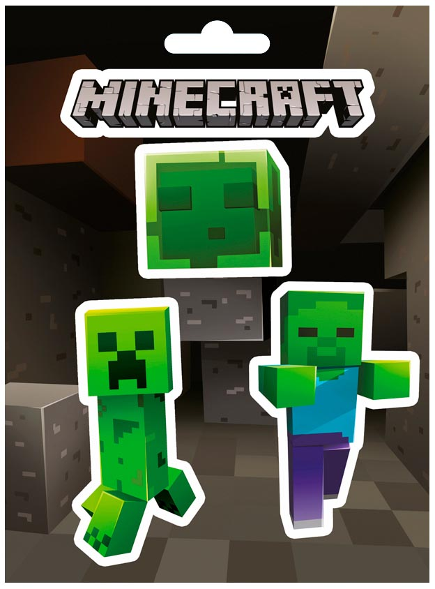 JINX Official Minecraft STICKERS SET Gift Creeper Portal CAVES MOBS