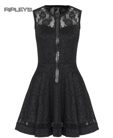 JAWBREAKER Goth Black Mini LACE DRESS Zip Floral All Sizes