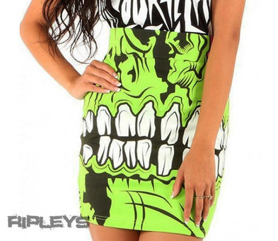 Iron Fist Ladies Bodycon MINI SKIRT Green ZOMBIE Chomper All Sizes