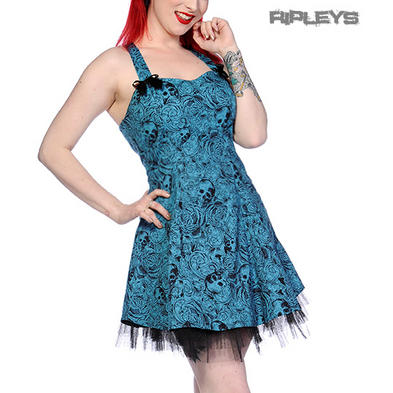 BANNED Mini DRESS Summer VINTAGE SKULLS Bows Blue Goth/Punk All Sizes