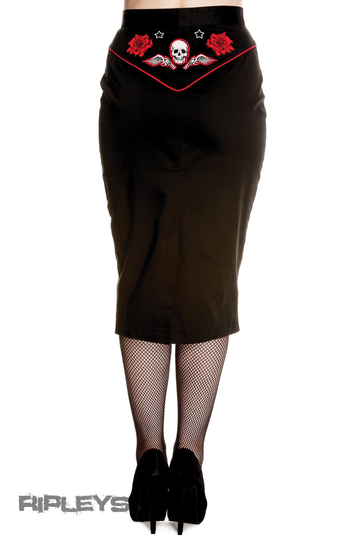 hell bunny 50s rockabilly pencil skirt western black