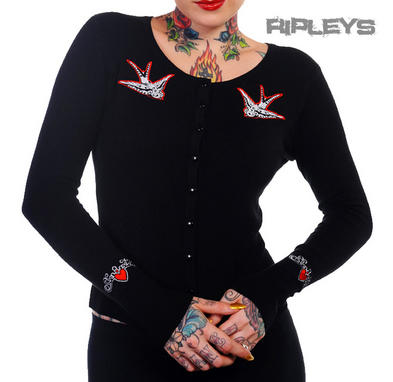 BANNED Ladies Black SWALLOWS CARDIGAN Top Rockabilly Pinup Plus Size