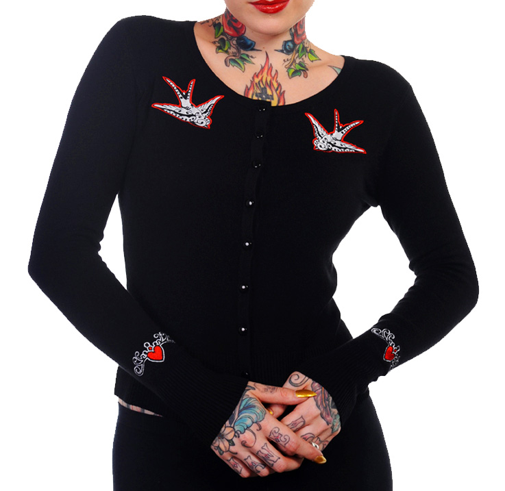 BANNED Skinny Black/Red SWALLOWS CARDIGAN Top Rockabilly Pinup Plus Size