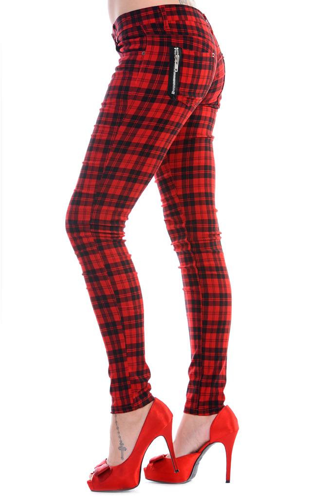BANNED CLOTHING Punk/Goth Tartan Skinny Jeans RED CHECK Zips All Sizes