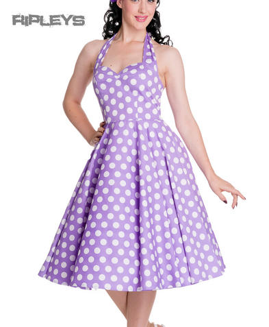 HELL BUNNY Polka Dot 50s Dress MARIAM Pin Up LAVENDER Purple All Sizes
