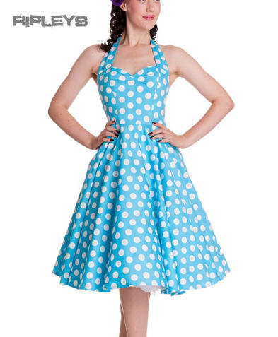 HELL BUNNY Polka Dot 50s Dress MARIAM Pin Up AQUA Blue White All Sizes