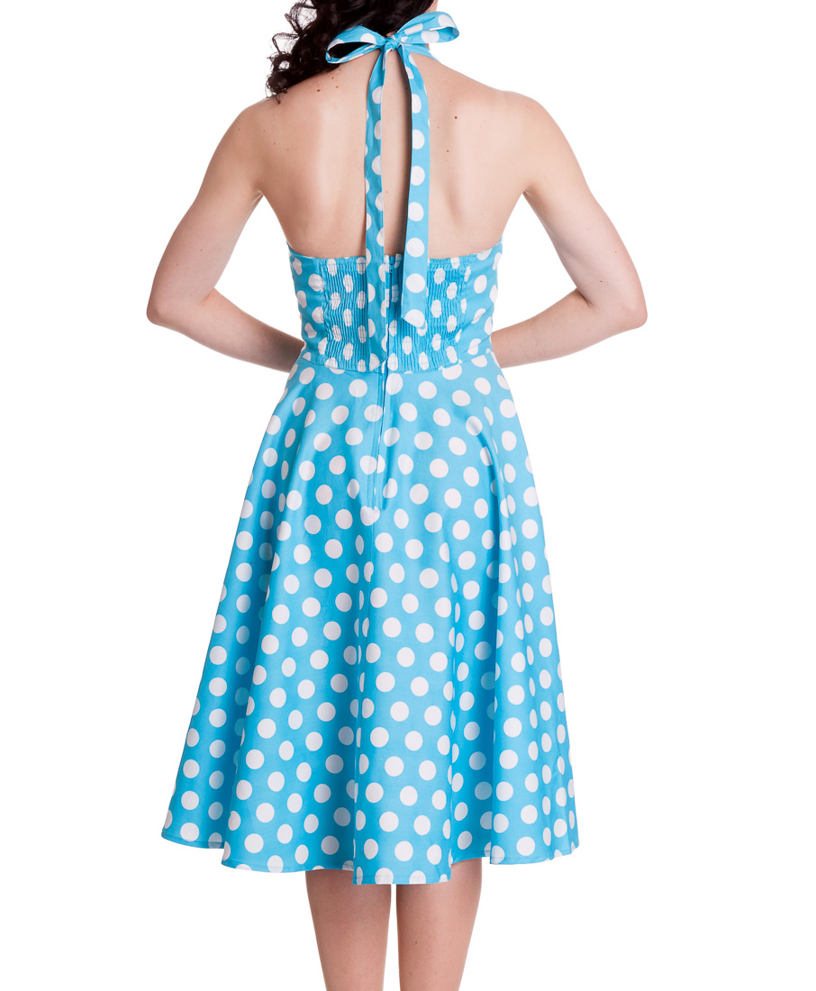 HELL-BUNNY-Polka-Dot-50s-Dress-MARIAM-Pin-Up-AQUA-Blue-White-All-Sizes