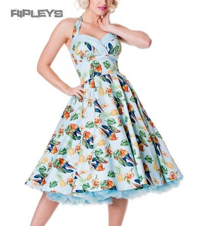 HELL BUNNY 50s DRESS Tropical SASSY BLUE Vintage Rocka Pin Up All Sizes
