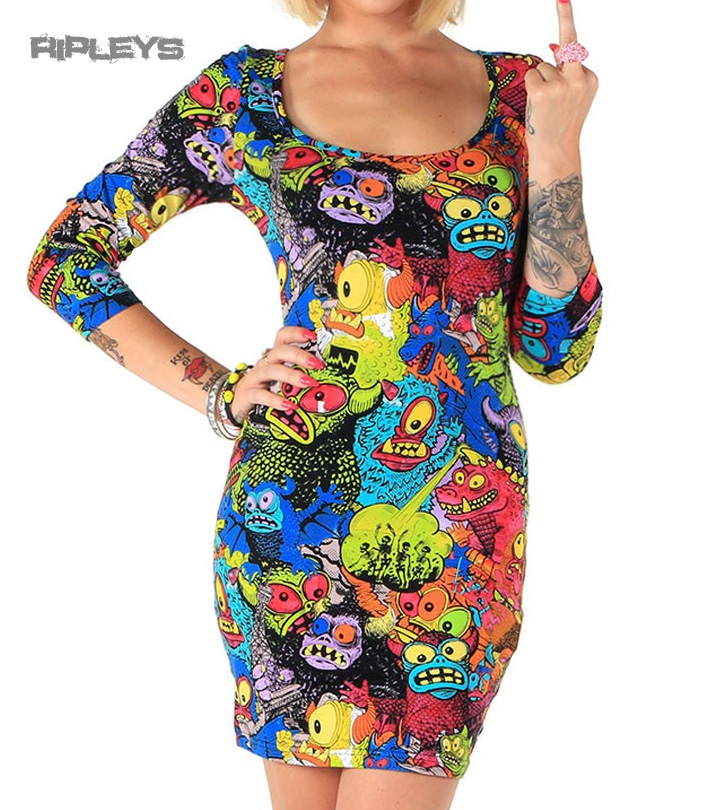 IRON-FIST-Ladies-Mini-Dress-Top-MONSTER-In-My-Pocket-Bodycon-Goth-All-Sizes