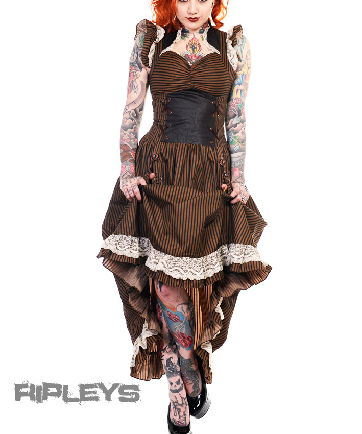BANNED-Victorian-Black-Copper-STEAMPUNK-DRESS-Ruffle-Adjustable-STRIPE-All-Sizes