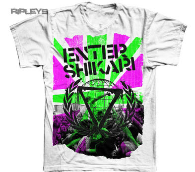 Official T Shirt ENTER SHIKARI White GUADY NEON Flag Pink/Green All Sizes