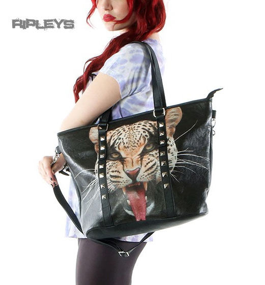 IRON FIST Ladies Goth Punk  Handbag Tote HERE KITTY Leopard Stud PVC