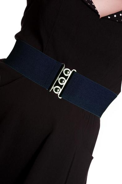 HELL BUNNY Retro 50s Waist BELT Rockabilly Elasticated Navy Blue All Sizes