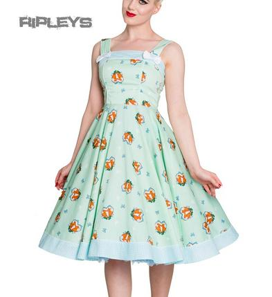 HELL BUNNY 50s Rockabilly FOXY DRESS Pin Up Vintage Mint Green All Sizes
