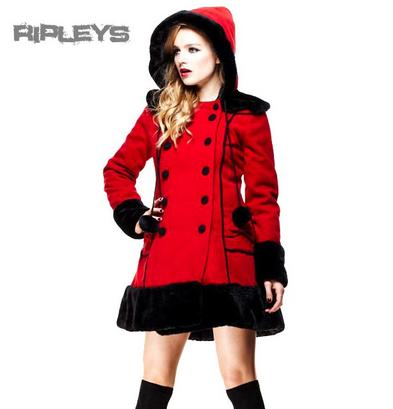 HELL BUNNY Red Long SARAH JANE COAT Winter Faux Fur All Sizes