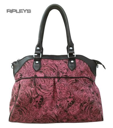 BANNED Clothing Handbag VINTAGE Skull & Roses Dusty Pink Large Bag