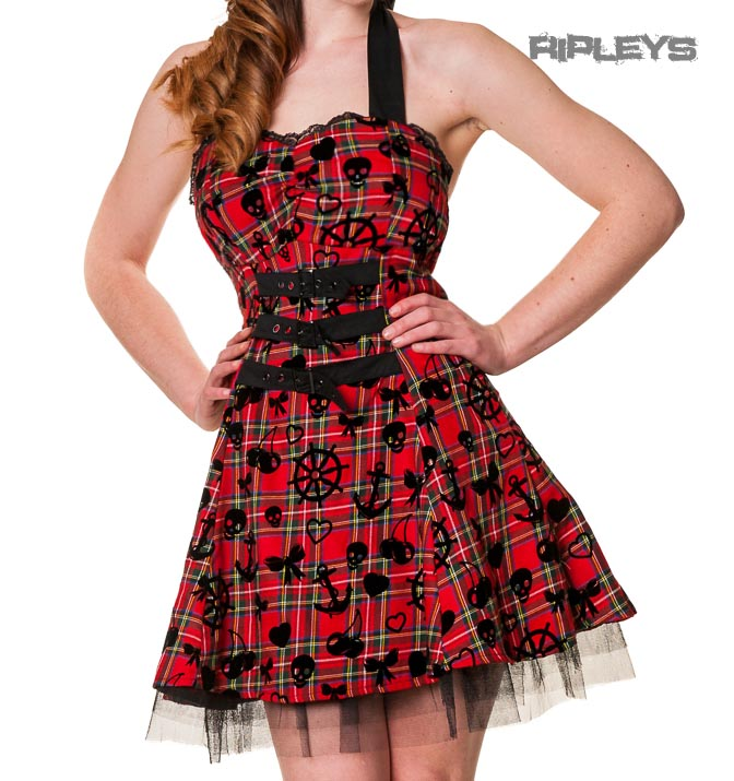 BANNED-Mini-DRESS-Buckles-TARTAN-RED-Black-Goth-Punk-All-Sizes