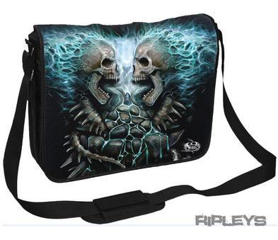 SPIRAL DIRECT Goth Punk Laptop Messenger Bag FLAMING SKULL Blue Fire