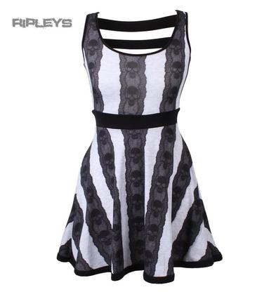 KREEPSVILLE 666 Ladies Mini Dress Top SKULL LACE Stripe Goth All Sizes
