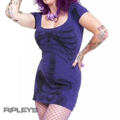 KREEPSVILLE 666 Ladies Mini Dress Top SKELETON Horror Goth Purple AO All Sizes