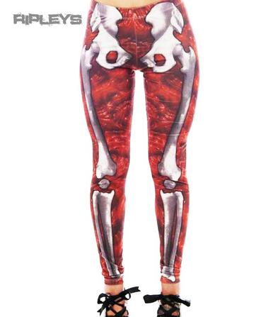 KREEPSVILLE 666 Ladies Leggings GORE Red Skeleton Bones Goth All Sizes
