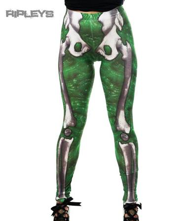 KREEPSVILLE 666 Ladies Leggings SLIME Green Skeleton Bones Goth All Sizes